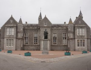 Statue of Lord Byron in grounds of Aberdeen Grammar School