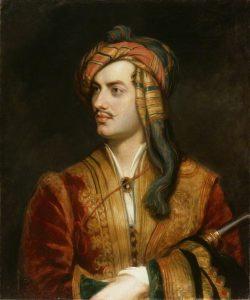 Lord Byron, resplendent in Albanian dress.